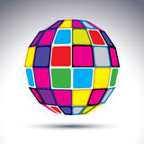 Vector dimensional modern abstract object, 3d disco ball. Psyche. Delic vivid globe created with colorful squares Royalty Free Stock Photo