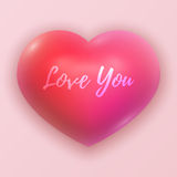 Vector Dimensional Pink Shaded Heart Symbol Illustration Stock Photography