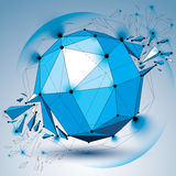 Vector dimensional wireframe blue object with radiance circles, Stock Image