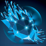 Vector dimensional wireframe blue sparkling object with radiance Stock Photos