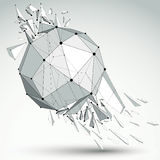 Vector dimensional wireframe grayscale object, spherical demolis Stock Photography