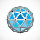 Vector dimensional wireframe low poly object, blue spherical sha Royalty Free Stock Photos