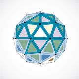 Vector dimensional wireframe low poly object, colorful spherical Royalty Free Stock Image