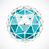 Vector dimensional wireframe low poly object, green spherical sh Stock Images