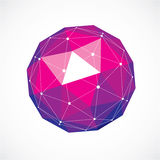 Vector dimensional wireframe low poly object, purple spherical s Stock Photos