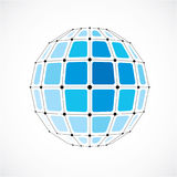 Vector dimensional wireframe low poly object, spherical blue fac Royalty Free Stock Photography