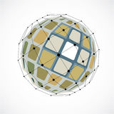 Vector dimensional wireframe low poly object, spherical colorful Royalty Free Stock Images