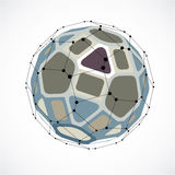 Vector dimensional wireframe low poly object, spherical colorful Stock Image