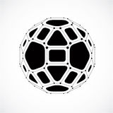 Vector dimensional wireframe low poly object, spherical gray facet Stock Image