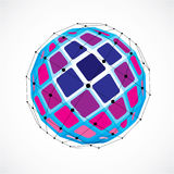 Vector dimensional wireframe low poly object, spherical purple f Royalty Free Stock Photo
