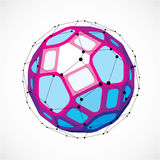 Vector dimensional wireframe low poly object, spherical purple  Stock Images