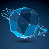 Vector dimensional wireframe luminescent object with blue connec Royalty Free Stock Image