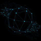 Vector dimensional wireframe luminescent object with blue connec Royalty Free Stock Photos