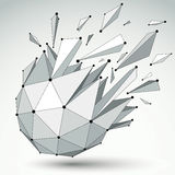 Vector dimensional wireframe object, spherical demolished shape Royalty Free Stock Photography