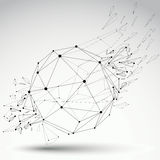Vector dimensional wireframe object, spherical demolished shape Royalty Free Stock Photo