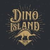 Vector dino island logo concept. Stegosaurus national park insignia design. Jurassic period illustration. Dinosaur Vintage T-shirt badge on white background Stock Images