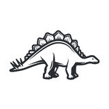 Vector dino Logo concept. Stegosaurus insignia design. Jurassic dinosaur illustration. T-shirt concept on white Royalty Free Stock Photos