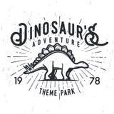 Vector dinosaur adventure logo concept. Stegosaurus theme park insignia design. Jurassic period illustration. Vintage T Royalty Free Stock Photo