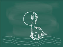 Vector of Dinosaur drawing on the blackboard chalk stock illustration