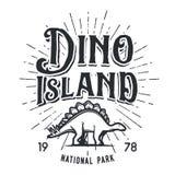 Vector dinosaur island logo concept. Stegosaurus national park insignia design. Jurassic period illustration. Dino Vintage T-shirt badge on white background Stock Images