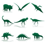 Vector dinosaur silhouettes. Vector illustration. Nine silhouettes of dinosaurs Royalty Free Stock Photos