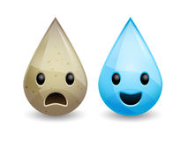 Vector dirty and clean water drops Stock Images