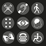 Vector disabled signs with deaf, dumb, mute, blind, braille font, mental disease Stock Image