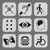Vector disabled signs with deaf, dumb, mute, blind, braille font, mental disease Royalty Free Stock Images