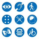 Vector Disabled Signs With Deaf, Dumb, Mute, Blind, Braille Font, Mental Disease, Low Vision, Wheelchair Icons Royalty Free Stock Photography