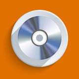 Vector disc icon on orange background. Eps10 Stock Photo