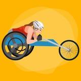Vector discapacitado de la competencia de deporte del circuito de carreras de On Wheelchair del atleta Imagenes de archivo