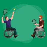 Vector discapacitado de la competencia de deporte del tenis de On Wheelchair Play del atleta Fotografía de archivo