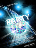 Vector Disco Party Flyer Design with  ball on shiny background. Eps10 illustration. Stock Image