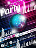 Vector Disco Party Flyer Design with disco ball on shiny background.  Royalty Free Stock Images