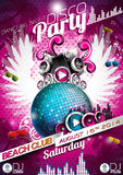 Vector Disco Party Flyer Design with disco ball Stock Photo