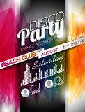 Vector Disco Party Flyer Design On Abstract Color Background. Royalty Free Stock Photo