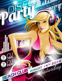 Vector Disco Party Flyer Design with sexy girl Stock Photo