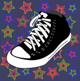 Vector disco shoes and stars background Royalty Free Stock Images