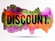 Discount-pink-orange-green. Vector discount background. Colorful watercolor texture blot. Sale frame. Black Friday. Holiday banner Stock Images