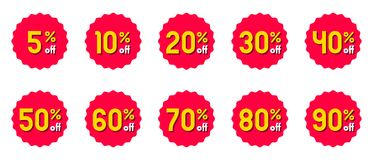 Vector discount label. Special promotion offer sale tag. Red badge sticker symbol stock illustration