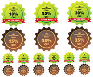 Vector Discount price tags. Vector Discount green and brown price tags or stamps from 10 to 95 percent in isolated white background for promotion stock illustration