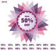 Vector Discount price tags. Vector Discount red price tags or stamps from 10 to 95 percent in isolated white background for promotion Stock Image