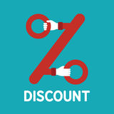 Vector discount sign in flat style Royalty Free Stock Photos