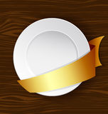 Vector dish with gold ribbon Royalty Free Stock Photography