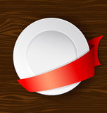 Vector dish with red ribbon Stock Image