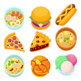 Vector - dishes food dessert and meal tasty cartoon icon set Royalty Free Stock Photo