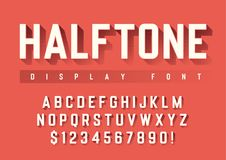 Vector display font design with halftone shadow, alphabet, chara. Cter set, typeface, typography, letters and numbers. Swatch color control royalty free illustration