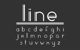 Modern double line display vector font and alphabet. Vector display font. Set of curved letters. Modern double line font and alphabet. Stylish modern font in Royalty Free Stock Photo