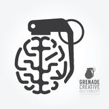 Vector a distorção do cérebro do motor do conceito da granada da ideia Fotos de Stock