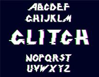 Vector distorted glitch font. Glitch Alphabet.Vector distorted glitch font. Trendy style lettering typeface. Latin letters Glitch typeface. Green and red Royalty Free Stock Photography